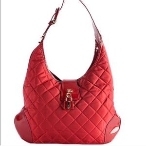 "BURBERRY quilted nylon""Brooke""hobo bag,red!FINAL"